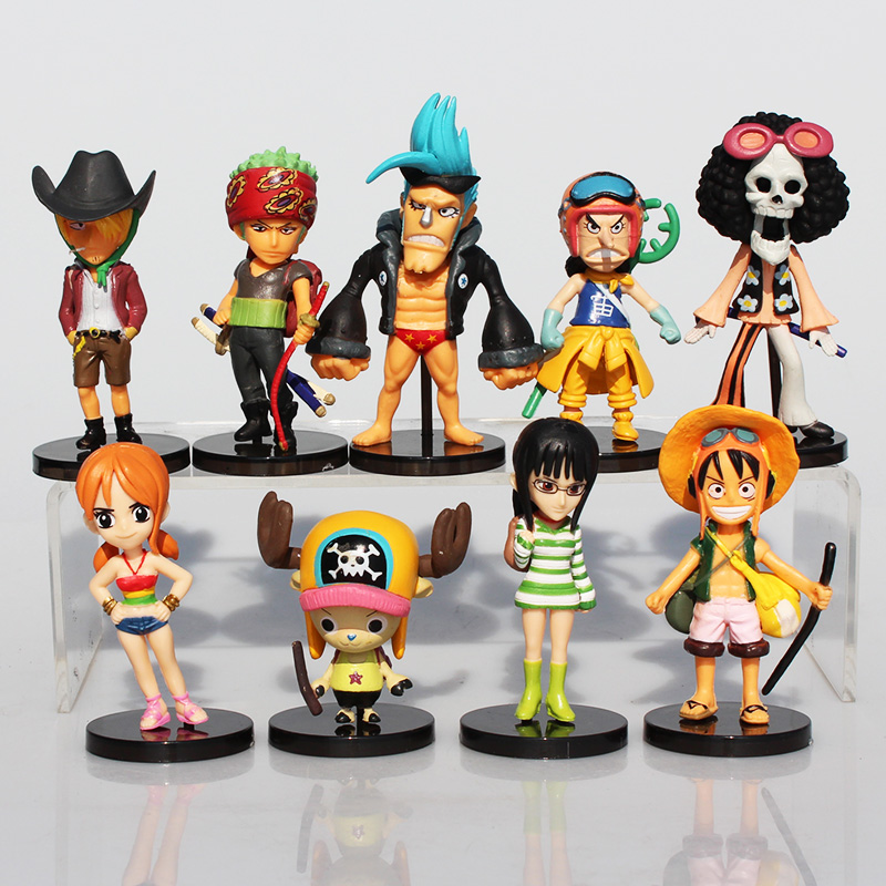 9Pcs/Set Mini Anime One Piece Luffy PVC Action Figure Toys Roronoa Zoro Sanji Chopper Franky Nami Dolls Great Gift one piece action figure roronoa zoro led light figuarts zero model toy 200mm pvc toy one piece anime zoro figurine diorama