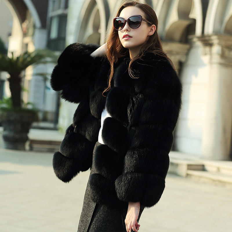 Hollywood Celerbrities best real Fur coats Warm big Natural fox fur plate font b jackets b