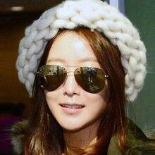 Бесплатная доставка 2017 Новых Корейской Версии Мода Вязание Шерсти Шапки Женщина шевелюры линия теплый зимние шапки многоцветный