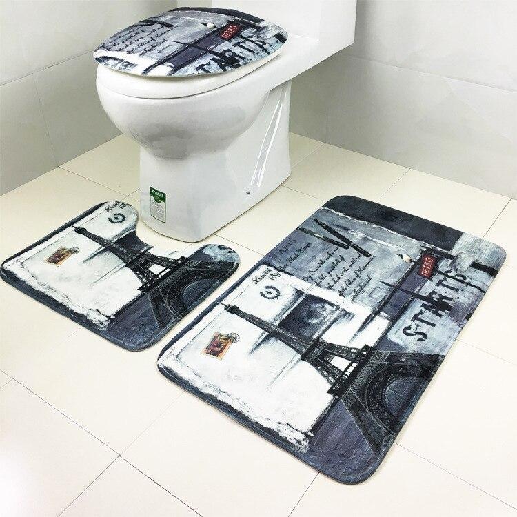 Floral Print 3 Piece Bathroom Rug Set Toilet Seat Lid Cover Pedestal Carpet Mats
