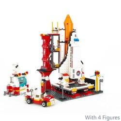 GUDI 679Pcs Cidade Porto Espacial Space Shuttle Lançamento Centro de Blocos de Construção Tijolos Brinquedos Educativos Para Crianças Compatível LegiNGly 8815