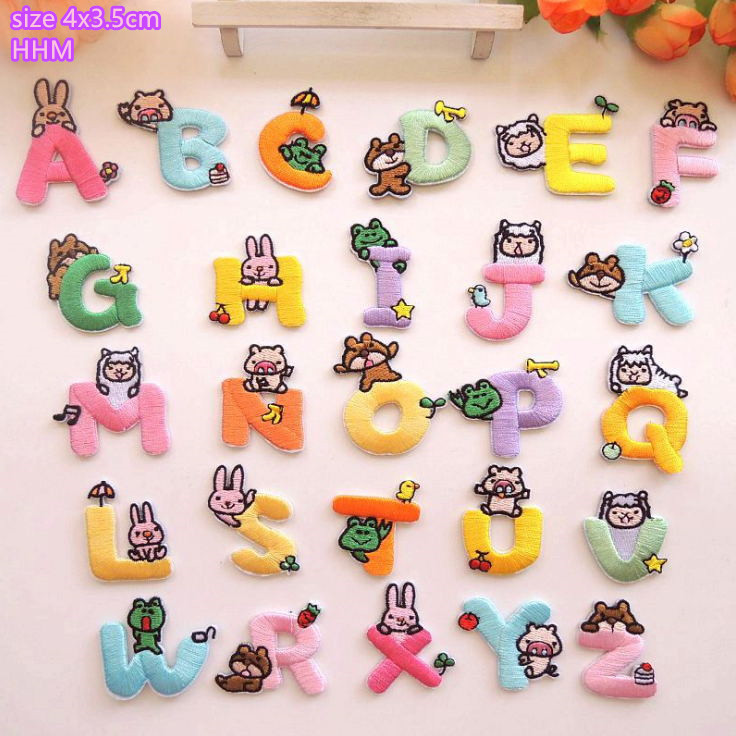 Crafts Sew on patch 5cm Badge Applique Alphabet Letters Iron on Patches