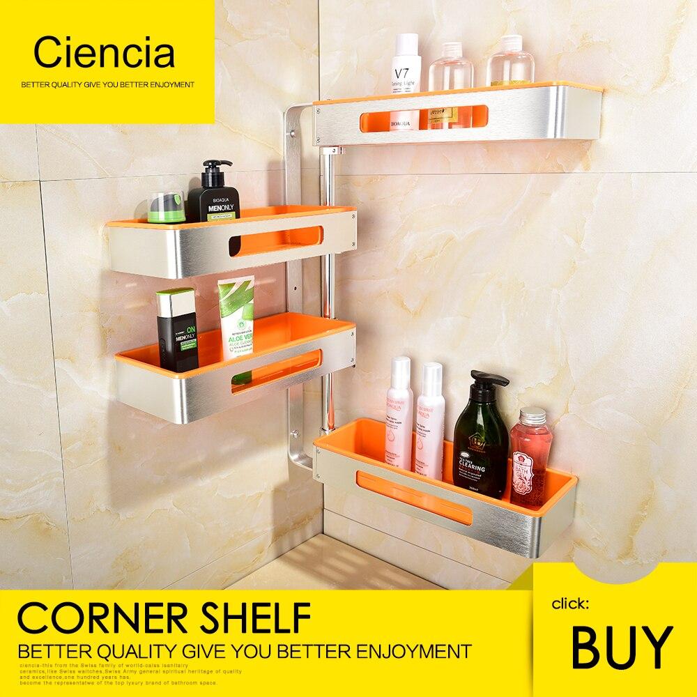 Free Shipping Aluminum Rotating Bathroom Shelves Multi Function 2 4 Tier Shower Corner Shelf Wall mount