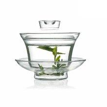 160 мл китайский стеклянный Gaiwan Tie Guan Yin кунг-фу чай чашка для путешествий Gongfu чай прозрачный Gaiwan термостойкий традиционный