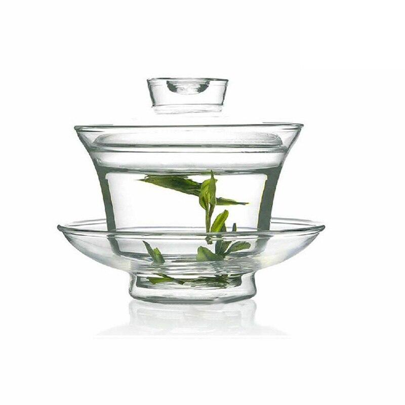 160ml Chinese Glass Gaiwan Tie Guan Yin Kung Fu Tea Cup Travel Gongfu Tea Clear Clear Gaiwan Heat Resistant Traditional