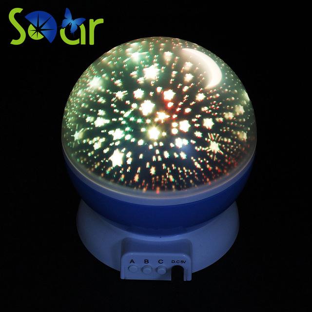 Rotação Estrelado Estrela Lua Céu romântico Noite Conduziu a Lâmpada Rotativa 5 V USB LED Lâmpada Do Projetor Crianças dos miúdos Do Bebê Dormir luzes
