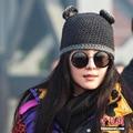 6 шт. бесплатная доставка/2016-A997 фан бинг бинг кошки ухо вязание шапка зима теплая шляпа skullies шапочки кап женщины