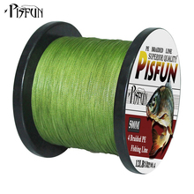 Pisfun 500M Fishing Line Super Power Japan 4 Strands Multifilament PE Braided Fishing Line 12-80LB 6 Colors