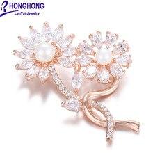 HONGHONG высокое качество подсолнечника броши для женщин Цирконий pearl и броши свадебное платье ювелирные изделия WX8035