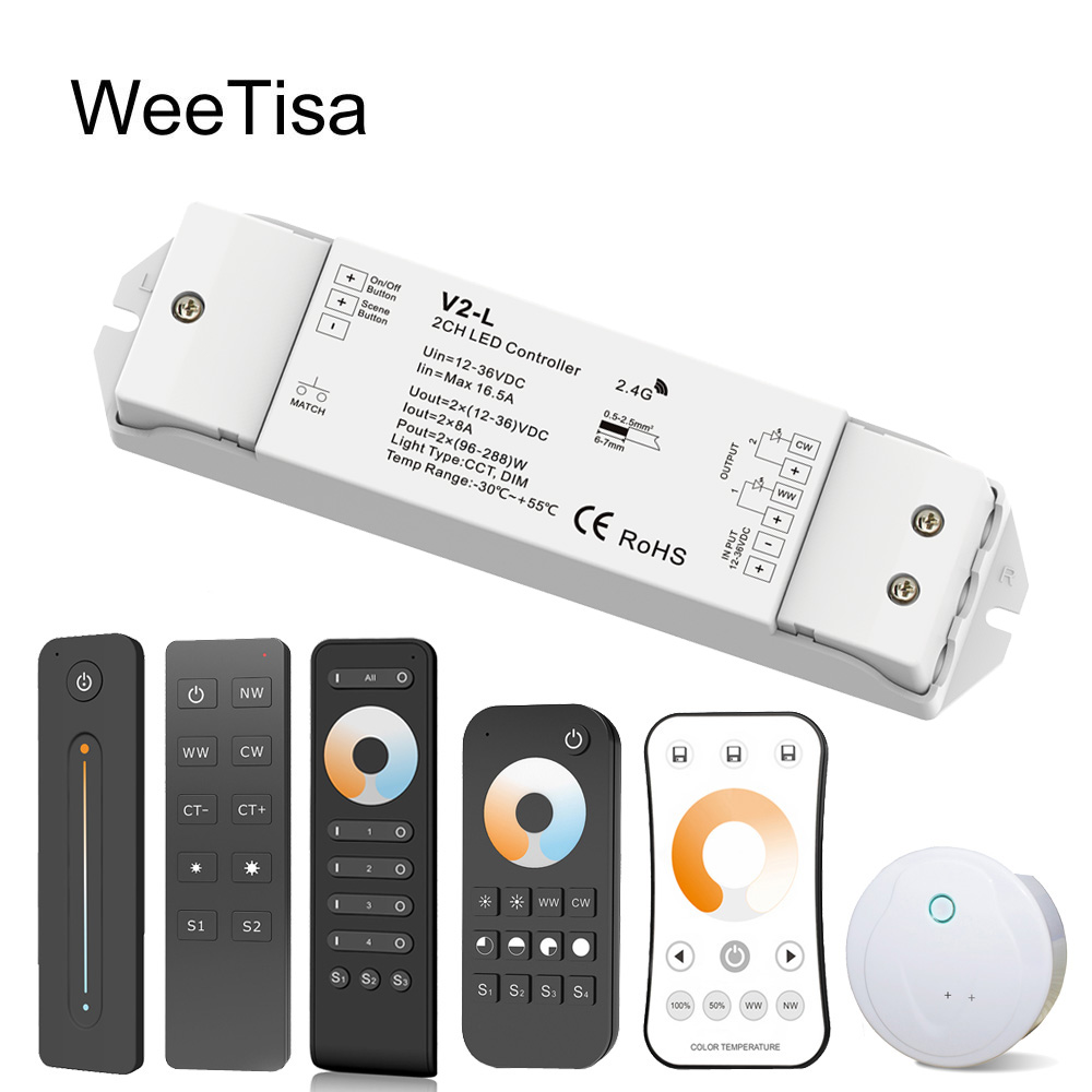 LED Dimmer Switch CCT 12V 24V 36V RF Wireless 2.4G Remote Smart Wifi 2CH WW CW LED Controller For CT Single Color LED Strip V2-L