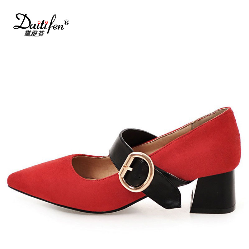 Daitifent Sweet Pointed Toe Thick High Heeled Women Mary Janes Pumps Buckle Strap Female Party High Heel Shoes Chic lady  shoes цена и фото