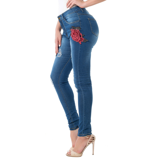 73cc3584c33 High Waist Women Distressed Jeans Rose Flower Printed Women 3D Jeans  Wholesale Female Hole Jean Overalls High Quality S2815