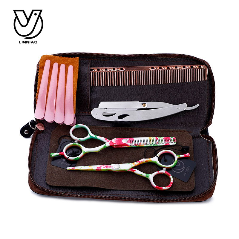 Imprimanta profesionala foarfece de par Set de flori de 5,5 inchi Frizer salon de frizer Tesoura Thinning Foarfece Cutting Tool