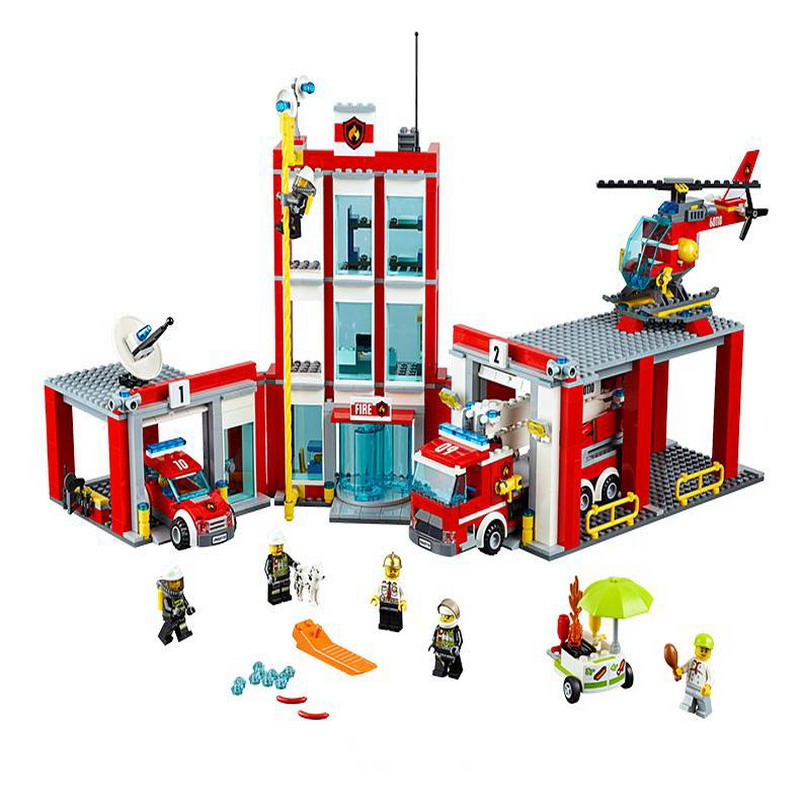02052 LEPIN 1029Pcs City Fire Station Model Building Blocks Compatible 60110 Classic Enlighten Action Figure Toys For Children lepin 02052 genuine 1029pcs city series the fire station set 60110 building blocks bricks educational toys christmas gift model