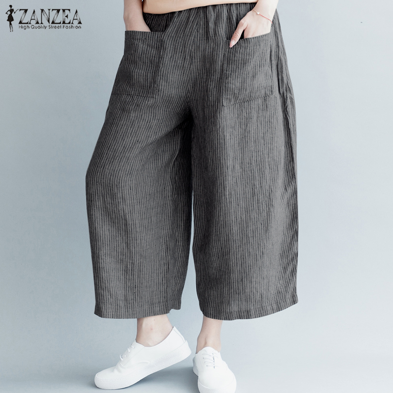 S-5XL ZANZEA Women Casual Stripe   Wide     Leg     Pants   Elastic Waist Pockets Loose Cotton Linen Trousers Vintage Work Harem Pantalon