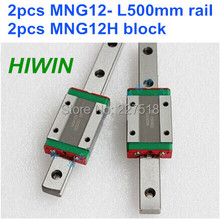 Miniature MGN12 500mm 12mm linear slide : 2pcs MGN12 L-500mm + 2pcs MGN12H carriage for CNC X Y Z Axis 3d printer part