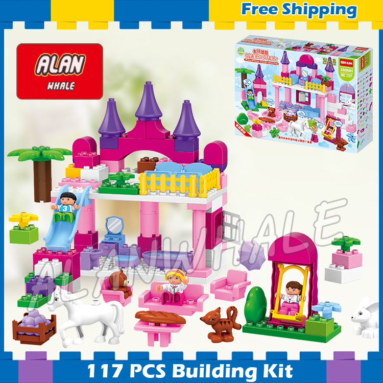 117pcs Princess the First Royal Castle Dream Park Model Big Size Building Blocks Bricks Toys Gifts Compatible With Lego Duplo diy 117pcs princess dream castle park larger particles building blocks toy kids girl best gift compatible with legoed duploe