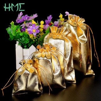 10pcs 4 Sizes(7*9-13*18cm) Gift bags Gold Silver Color Drawable Organza Pouch  Christmas Wedding Gift  Jewelry Craft Candy Bags