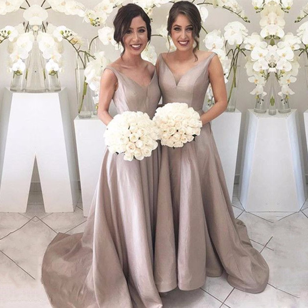 Fashion women champagne bridesmaid dresses sexy v neck for Formal long dresses for weddings