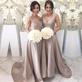 Fashion Women Champagne Bridesmaid Dresses Sexy V Neck Satin Bridesmaid Dress Long Wedding Party Dress Formal Gowns B93