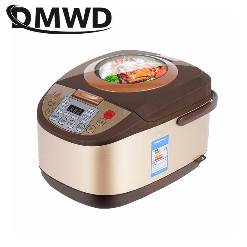 DMWD Electric Rice Cooker 5L Timing Reservation Food Heating Pressure Cooking Steamer 2-8 People Soup Stew Pot Cake Yogurt Maker rice cooker intelligent household high capacity fully automatic 2 8 people 5l capacity reservation spherical hyun kettle