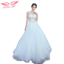 AnXin SH Lace white flower wedding dress sweet Princess Bride beading flower wedding Dress winter lace wedding dress 1917
