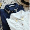 2016 Primavera New Moda Feminina Manga Comprida Turn-down Collar Floral Bordado Blusa Casual Camisas Femininas Camisa Branca