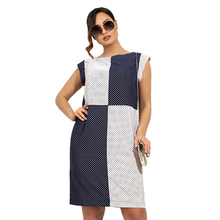Summer Dress Plus Size Colorblock Polka Dot Women Dress Sleeveless Midi Office Casual Dress Large Loose Dress 5XL 6XL Robe Femme недорого