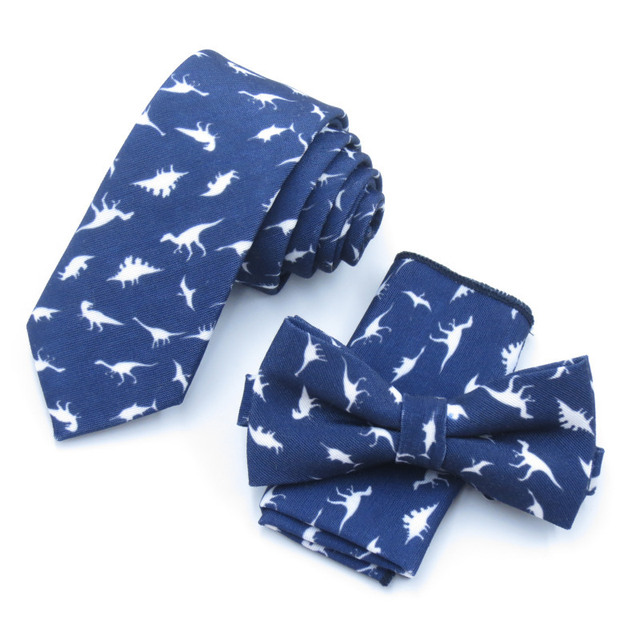 Dinosaur Designer Men Bow Tie Set Pocket Square Handkerchief Mens Butterfly Bow Tie Skinny Ties Set Lots Slim Necktie For Man