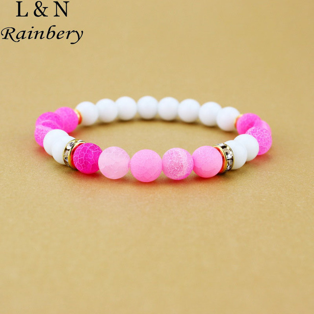 8mm elastic rope rainbery charm bracelet blue round natural stone beads bracelets for women men
