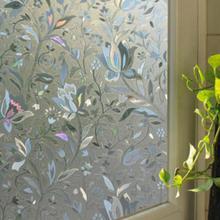 45×100 cm Reciclable Casa de Películas para Ventanas De Vidrio Esmerilado Flor 3D Etiqueta Engomada Decorativa
