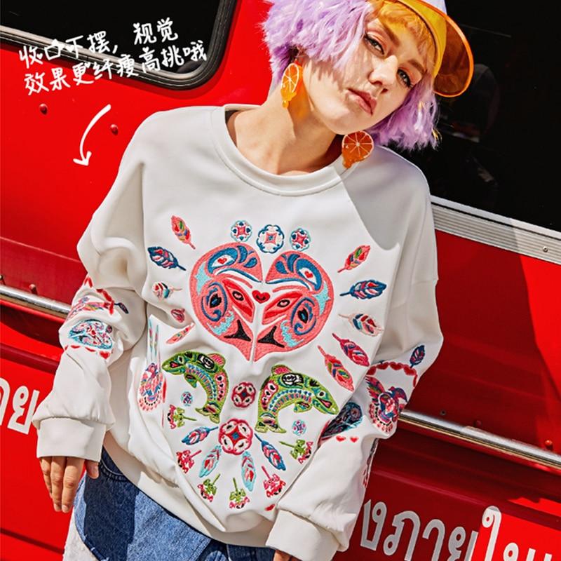 Spring Autumn Female New O Neck White Sweatshirts Women Fashion Embroidery Casual Tops Loose Plus Size