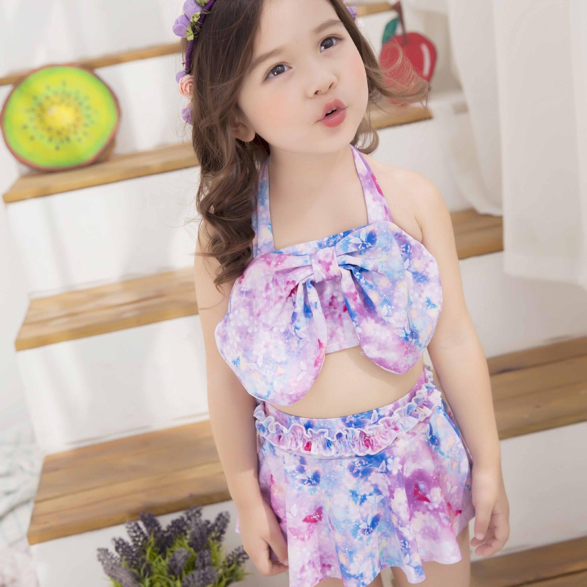 4f379c6649a82 Big Bowknot Swimsuits Cover up Girls Floral Print bikibi set Children baby  Long sleeve swimwear roupa de banho