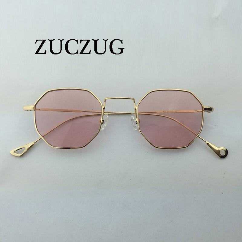 ZUCZUG Hexagon Sunglasses Women Small Frame Polygon Sunglasses men Brand Designer Blue Pink Clear Lens Sun Glasses Female UV400