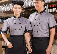 Chef Uniform Chef Wear Short Sleeved Summer Hotel Kitchen Restaurant Coffee Black Men and Women Chef Clothes Chef Coverall