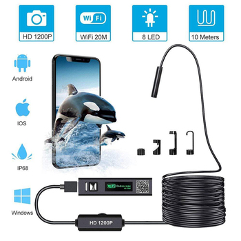HD 1200P Mini IP68 Waterproof WIFI Endoscope Camera 10M Hard Wire 8mm Lens 8 LED Inspection Borescope Camera For Android/PC/IOS antscope wifi endoscope camera android 8mm 2 0mp 720p borescope mini camera semi rigid hard tube and softwire car inspection