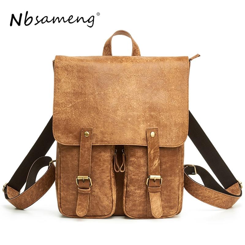 NBSAMENG 2018 Designer Famous Genuine Leather Backpack Male Travel Men Backpack Schoolbag Men Laptop Leather Backpack Pocket Bag стоимость