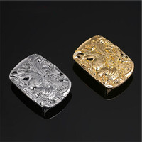 Hot Sale High Quality Cool 3D Silver Gold Dragon Cowboy Belt Buckles With 70 49mm Metal