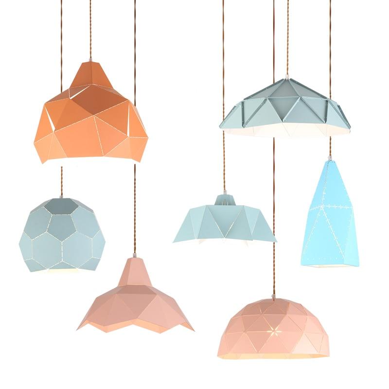 купить retro iron diamond shape hanging light loft pyramid pendant lamp adjustable cafe light fixture chandelier по цене 3535.87 рублей