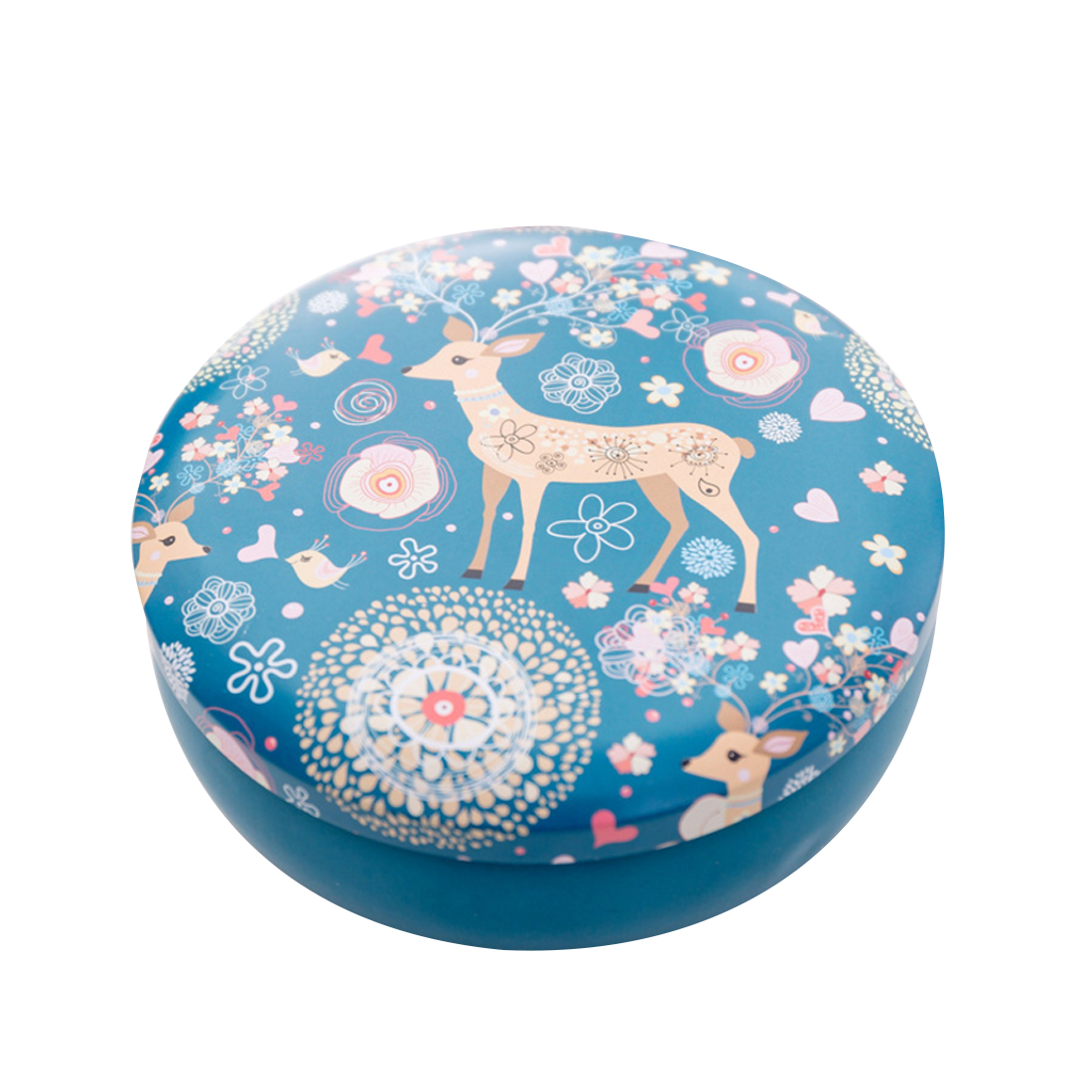 iTECHOR Tinplate Round Storage Box with Lid Jewelry Organizer Gift Box Tea Candy Storage Box Kitchen
