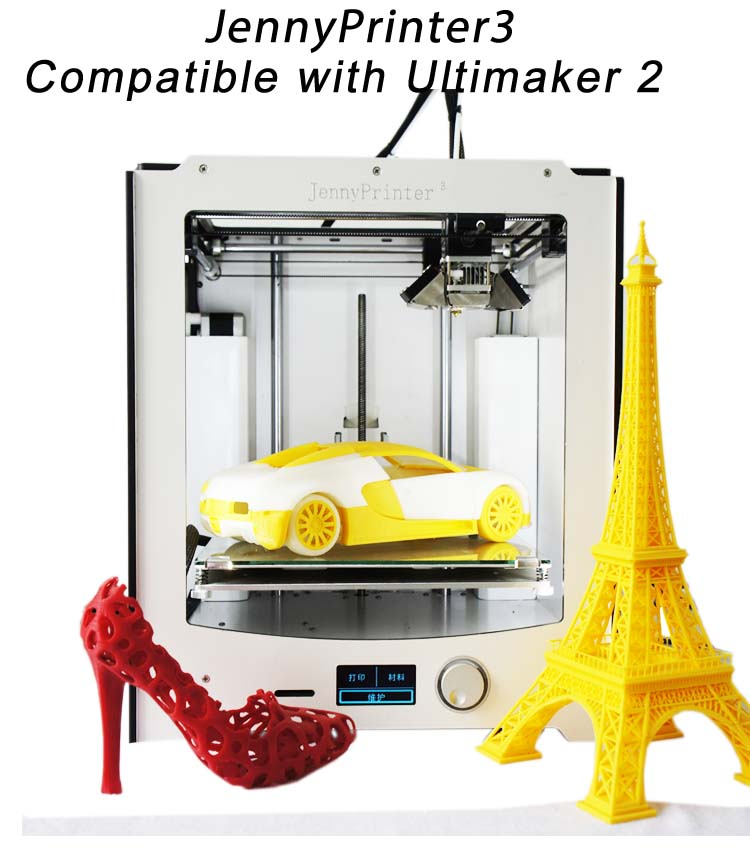 Free Shipping 2017 Newest Assembled JennyPrinter 3 Compatible With Ultimaker 2 UM2 High Precision Auto Leveling