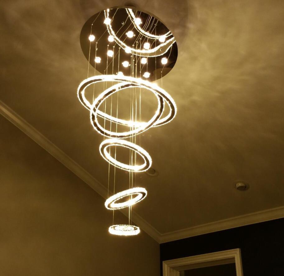 Modern 60 70 90cm Crystal Led Chandeliers Ceiling Lights: New Modern Luxury Circles LED Crystal Pendant Lamp Diamond