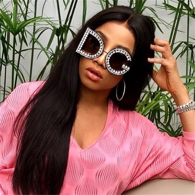 2c6312bd80ce ... oversized Crystal Sunglasses 2018 Women s fashion shades luxury brand  designer trendy Summer letter Rhinestone round eyewear. -37%. Click to  enlarge