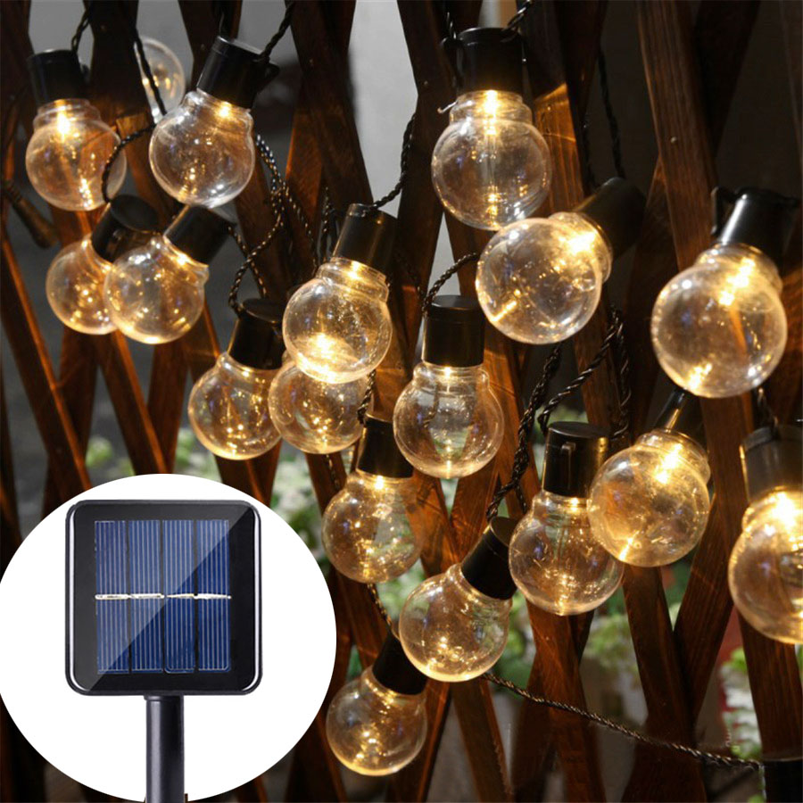 10/30 LED Globe Solar String Lights with Clear Bulb Backyard Patio Lawn Outdoor Garland  ...