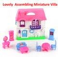Frete grátis crianças diy educacional casa Toy moda linda casa de boneca casa modelo de montagem kit, Mini casa RD800725
