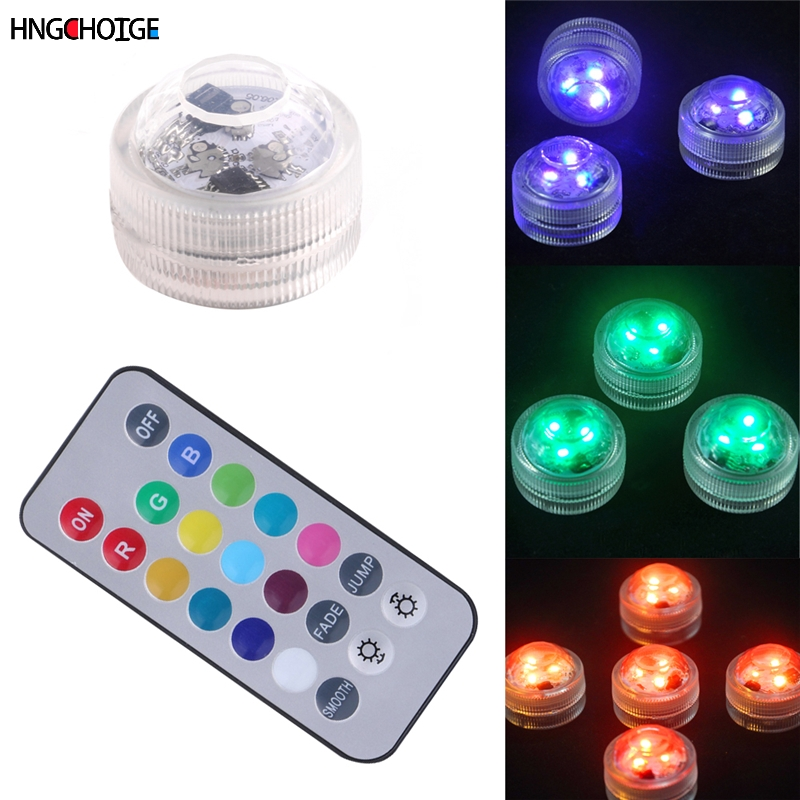 RGB 13 Color Change LED Luminous Circular Candle Lights Battery Remote Diving Waterproof Hot
