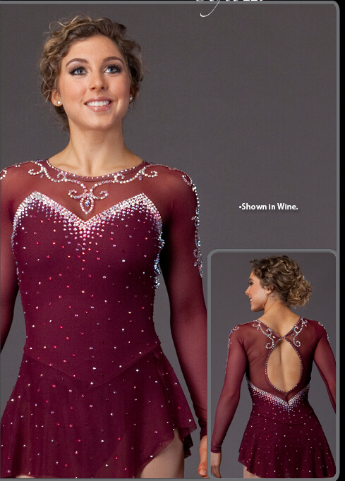 ice skating dresses for women figure skating dress spandex ice skating clothing custom wine red free shipping skating suit