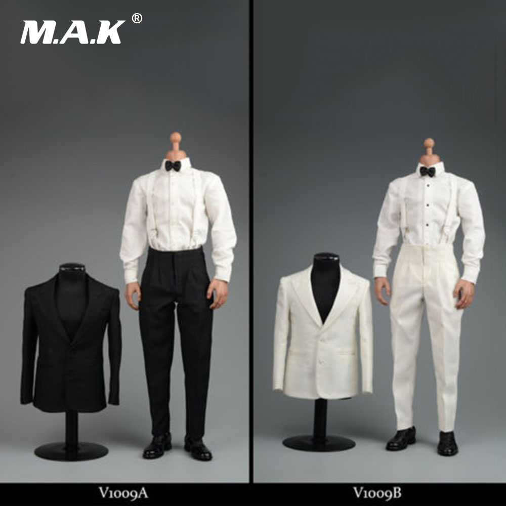 1/6 Male Clothing White/Black Clothes Suits Gentleman Costume for 12 Man Figure Body Accessories
