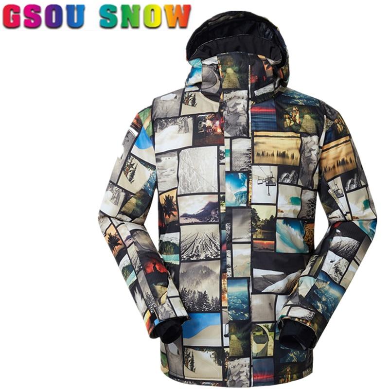 Prix pour Gsou Neige Cool Ski Veste Hommes de Snowboard Hiver Imperméable Veste Haute Qualité Vente Chaude Ski Neige Vêtements Sports de Plein Air Costumes