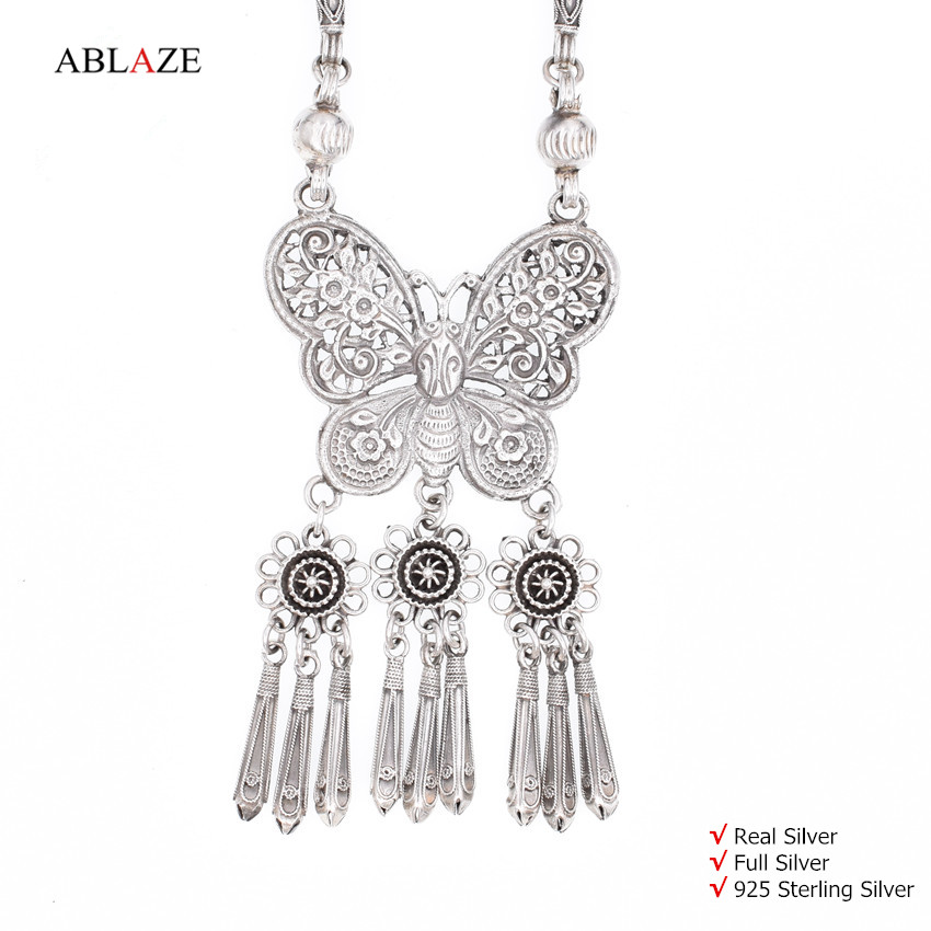 Quality 925 Sterling Silver Butterfly Long Tassel Pendant Necklaces Antique Ethnic Women Statement Necklace 2016 #nw009 купить в Москве 2019